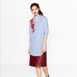 Zara Stripped Shirt Dress with embroidered flower!